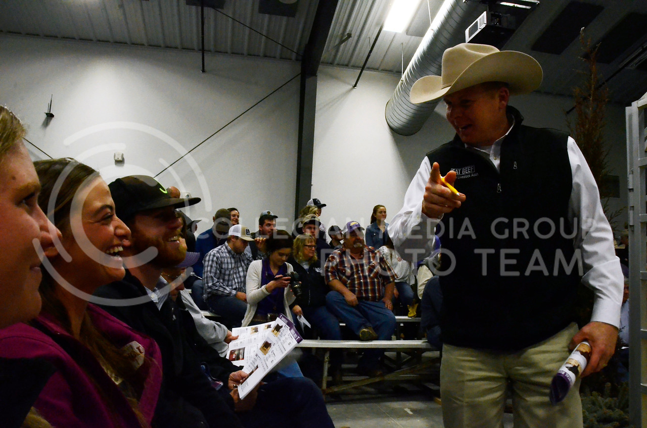 Stephen Russell, of Kansas Stockman and Kansas Livestock Association, jokes with attendees at Cattlemen's Day on Friday, March 2, 2018, at Stanley Stout Center, 2200 Denison Ave.