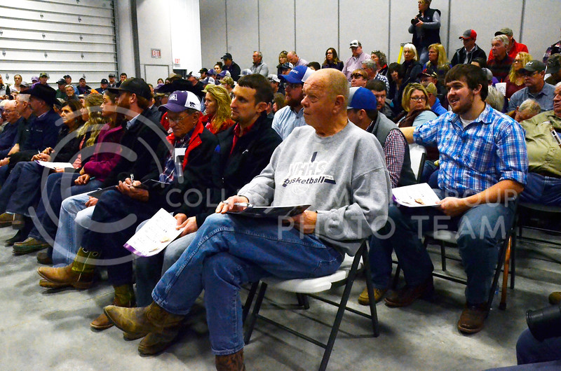 Attendees watch as cattle are shown at Cattlemen's Day on Friday, March 2, 2018, at Stanley Stout Center, 2200 Denison Ave. (Tiffany Roney | Collegian Media Group)
