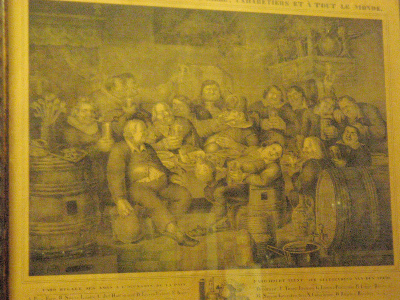 a picture of Belgian lambic brewers from the 1800's, hanging in Kulminator