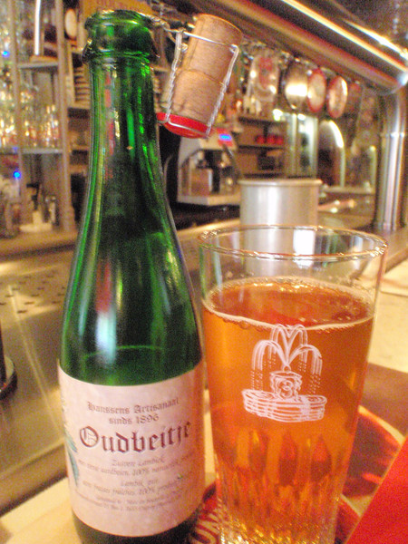 this lambic is brewed with strawberries, not traditional but still tasty. A lot of the oude lambics put the fruit way in the background and give you the massive sour that most fans of these styles are looking for
