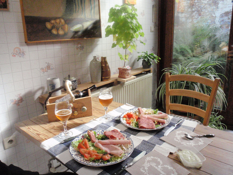 simple lunch with local meats