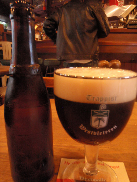 I'm in Belgiium, I'm going to drink Belgian, in the Kulminator I started with a 3 year old Westvleteren, hard to get, you have to line up at the abbey and hope they're open and will let you take your maximum. This is the holy grail of Trappiste beers and I wasn't sure I was going to see any. Worth the price of admission to me