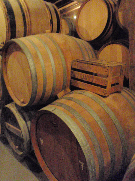the cellar is full of barrels of beer aging for future blending