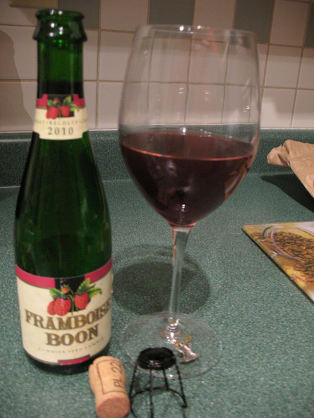 08/09/12 Kelly's first venture into a lambic, it's all I could find in Victoria, better than nothing for sure.