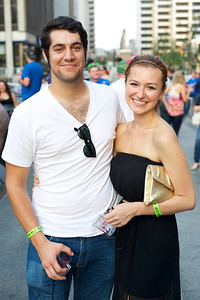 John Sebastian of Silverton and Stephanie Proffitt of Chicago, IL  at Cincy Beerfest on Fountain Square Friday