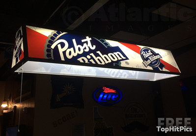 A Pabst Blue Ribbon Pool Light in a Bar in Idaho Falls, Idaho, USA