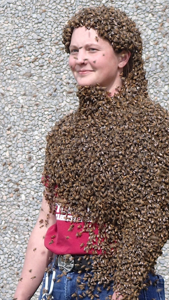 "Megan Asche with ""Bee Beard"""