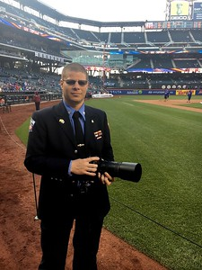 Photographing the first pitch at Citi Field