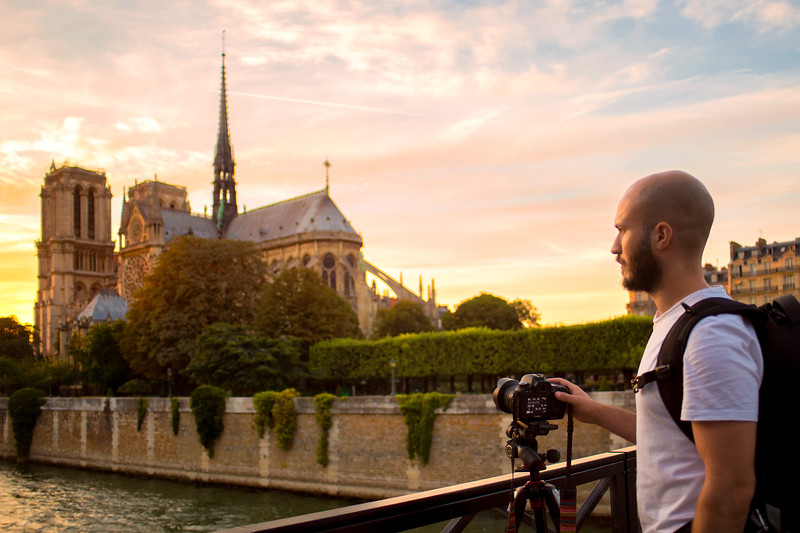 Photographer Aaron Northcott Capturing Notre Dame at Sunset