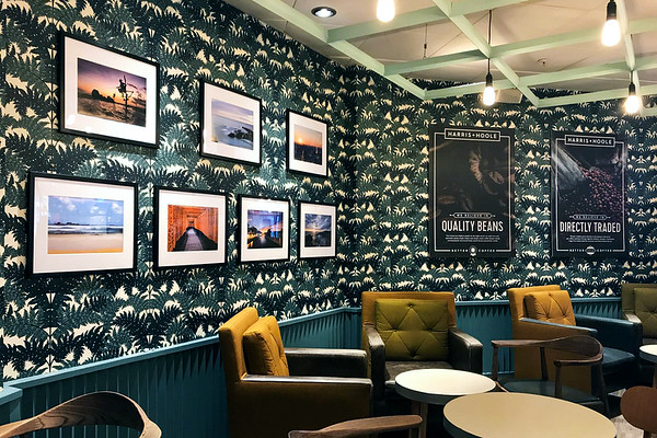 The Harris and Hoole Cafe in Colchester with Prints by Aaron Northcott on the Wall