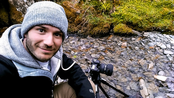Photographer Aaron Northcott Taking a Selfie Whilst Shooting in a River