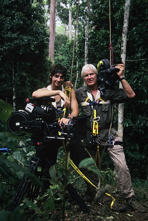 After a day filming orangutans in the jungle canopy.  Wolfgang and Tristan Bayer in Borneo.