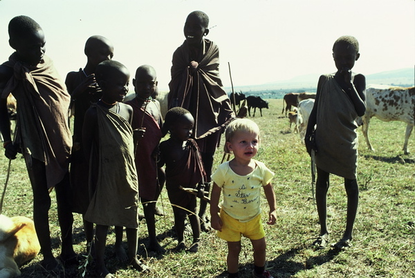 """""""A Star is Born"""" - Entertaining the local Masai kids.  Tristan Bayer in Africa."""