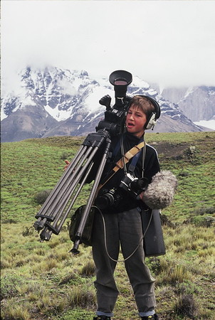 """""""Carrying my Own Weight"""" - Camera assistant Tristan Bayer at the age of 12 while filming a wildlife documentary on Llamas and Guanacos with his father in Patagonia, Chile."""
