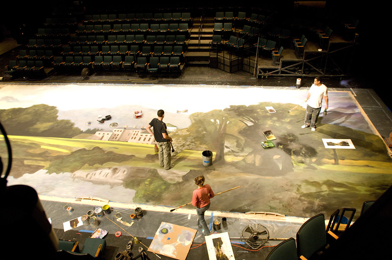 The Oregon Shakespeare Festival. 2010. Paint Shop working on the backdrop for Pride and Prejudice in the New Theatre. Photo: Jenny Graham.