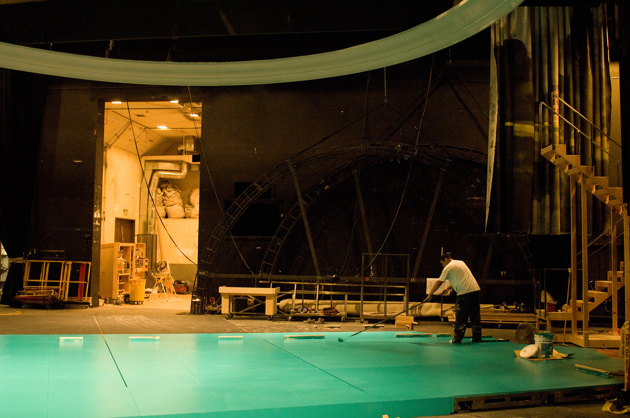 The Oregon Shakespeare Festival. 2010. The Scene Shop and Paint Shop working on Hamlet.Photo: Jenny Graham.