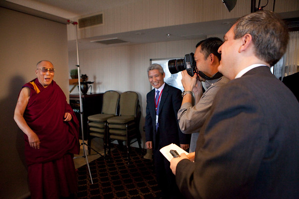 Dalai Lama posing for a portrait after an interview in Ottawa.