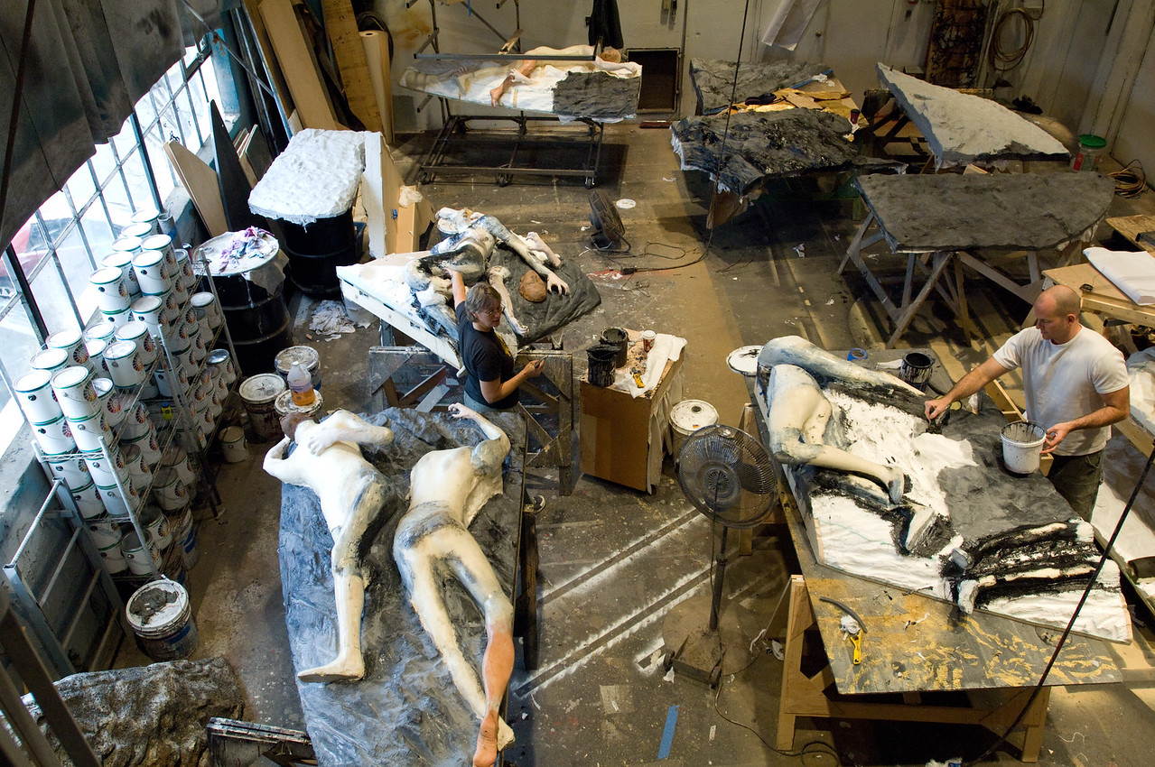 The Oregon Shakespeare Festival. 2008-9. Jay Leighton and Dirk Stafford painting the dead bodies that will be a part of the Macbeth set. Photo: Jenny Graham.