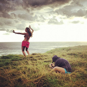 Photographing Alison Teal, somewhere in Australia.