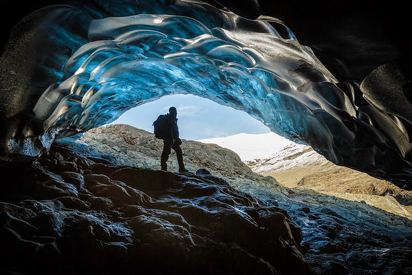Arriving at an ice cave, Iceland