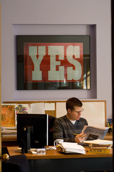 The Oregon Shakespeare Festival. 2009. Bill Rauch in his office. Photo: Jenny Graham.