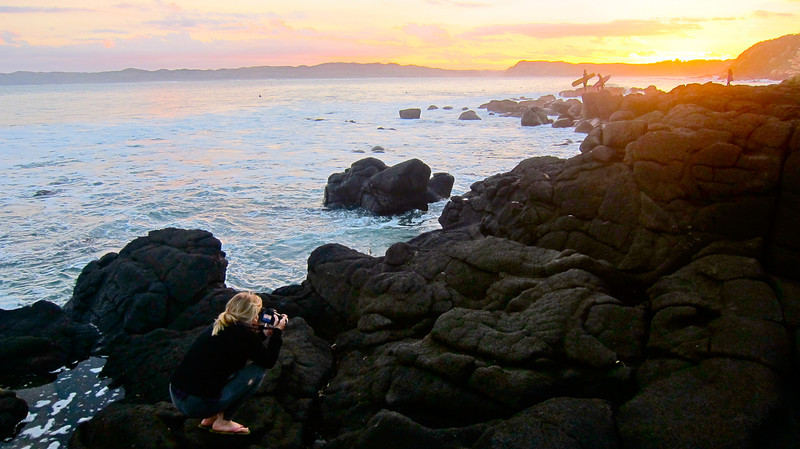 Sunrise in Raglan, New Zealand.  Shooting for an Alison's Adventures: http://alisonsadventures.com/portfolio/daniel-kereopa/  Photo by Ruth Mamaril