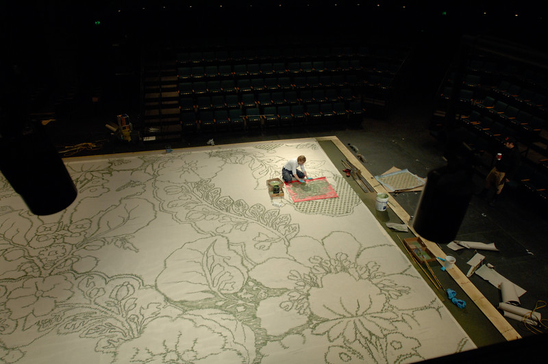 The Oregon Shakespeare Festival. 2007. Sam Blankenship paints a set piece for The Cherry Orchard. Photo: Jenny Graham.