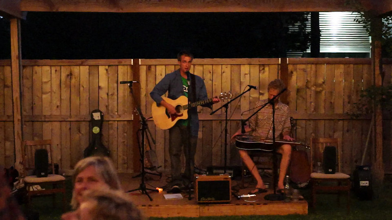 Musicians Lauren Ross, Ron Ellis and Benji Nagel perform live music on the patio of Dan and Julia Rickard's Clearwater Gallery in Sisters, Oregono on the summer evening of Monday, July 15, 2013. This video was taken as part of Project Dayshoot+30, #dayshoot30, for the Oregon Historical Society - Copyright © 2013 Gary N. Miller, Sisters Country Photography