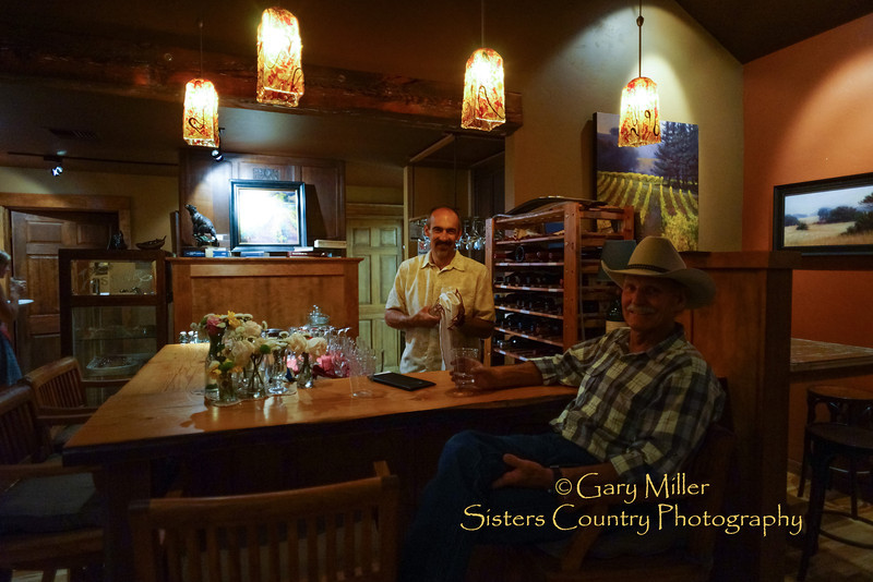 Dan Rickards and Chuck Newport in the unique lounge at the Clearwater Gallery in Sisters, Oregon - Image taken as part of Project Dayshoot+30, #dayshoot30, for the Oregon Historical Society - Copyright © 2013 Gary N. Miller, Sisters Country Photography