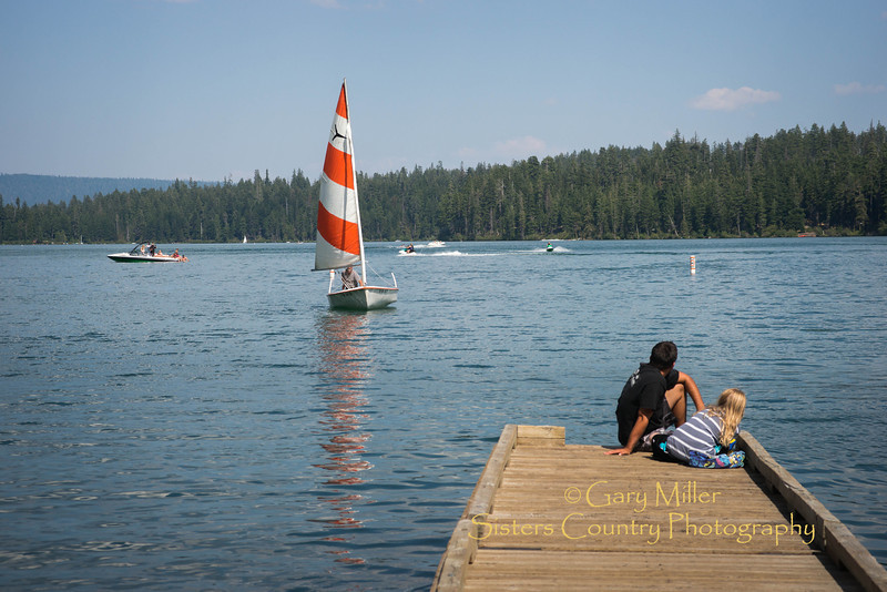 """Pete Rathbun takes """"Cricket"""", his newly acquired Sweet 16 type sailing dinghy, for it's maiden shake down cruise on Suttle Lake - August 3, 2013 - Copyright © 2013 Gary N. Miller, Sisters Country Photography"""