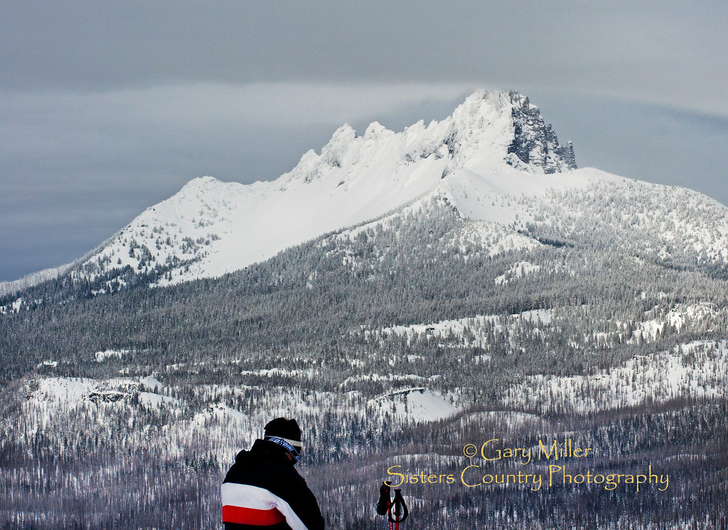 """My Father, Who Art In Heaven..."" A skier in God's Sisters Country - Hoodoo Ski Area and Three Finger Jack, Oregon Cascades. Gary N Miller - Sisters Country Photography"