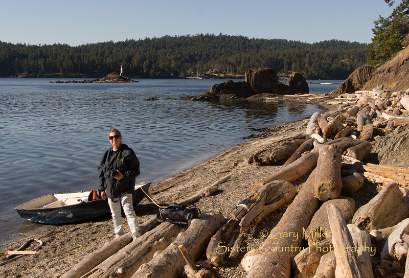 Beckie Zimmerman after landing on the beach of the Provincial Park in Bedwell Harbour on South Pender Island, British Columbia. Images from a sailing holiday to the Canadian Gulf Islands in October of 2012 - Gary N. Miller - Sisters Country Photography