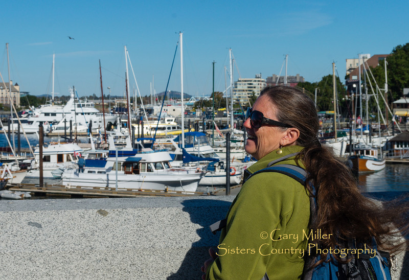 Beckie Zimmerman enjoying Victyoria's Inner Harbor on Vancouver Island, BC Canada. Images from a sailing holiday to the Canadian Gulf Islands in October of 2012 - Gary N. Miller - Sisters Country Photography