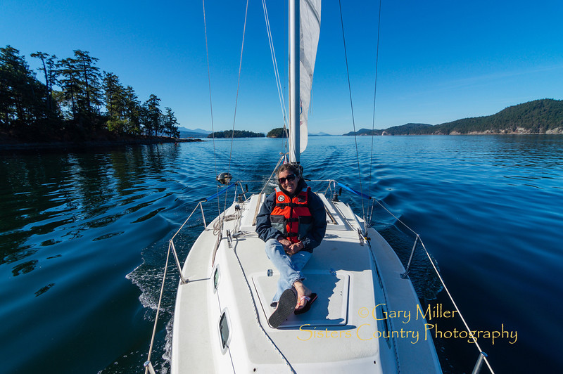 Beckie Zimmerman on White Rabbit off of Secret Island in British Columbia. Images from a sailing holiday to the Canadian Gulf Islands in October of 2012 - Gary N. Miller - Sisters Country Photography