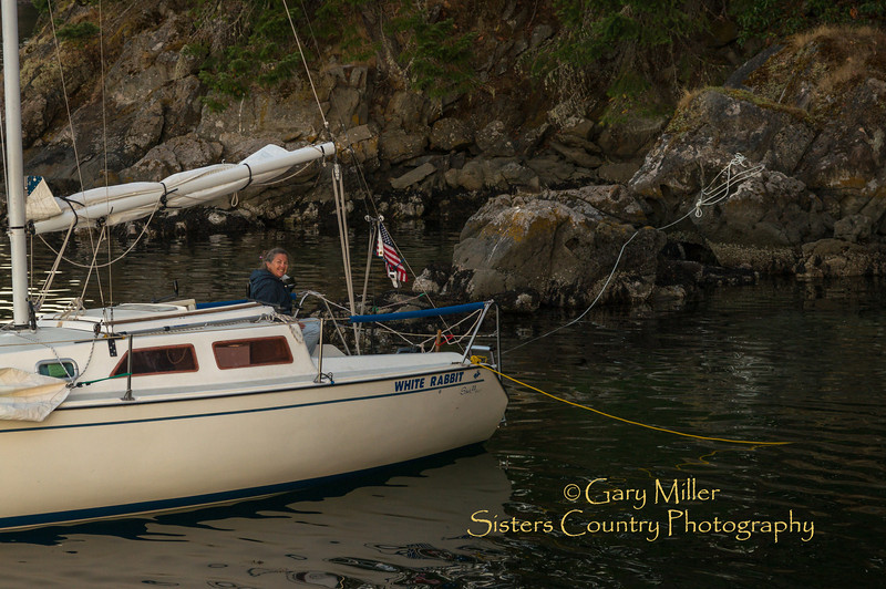 The photographer's sailboat, the White Rabbit found a postcard perfect anchorage nestled into a tiny finger next to Secret Island in the Glenthorne Passage of Prevost Island, BC.  Images from a sailing holiday to the Canadian Gulf Islands in October of 2012 - Gary N. Miller - Sisters Country Photography