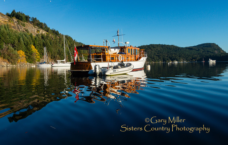 Cruising boats moored off the park in Montague Harbour on Galiano Island. Images from a sailing holiday to the Canadian Gulf Islands in October of 2012 - Gary N. Miller - Sisters Country Photography