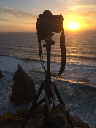 Catching the sunset on the Atlantic ocean from Portugal