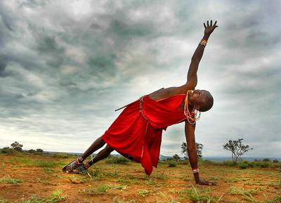 Masaai Warrior Vashistasana ~ The Foothills of Kilimanjaro, Kenya