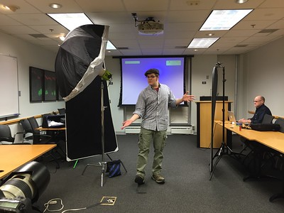 behind the scenes: setting up lights  for a Duke Neuro Research shoot