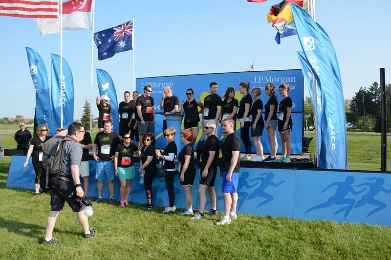 setting up team group photos for JP Morgan