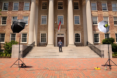 setting up for a group photo at UNC