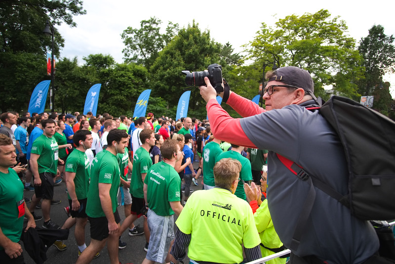 covering the starting line of the JP Morgan Corporate Challenge in Boston