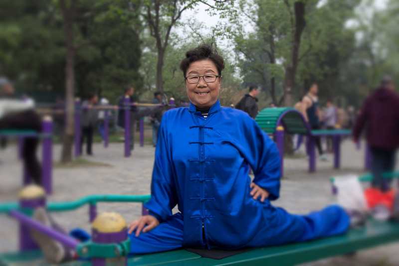 Senior TaiChi lady Purple Bamboo Park Beijing June 2012 ©Lewis Sandler
