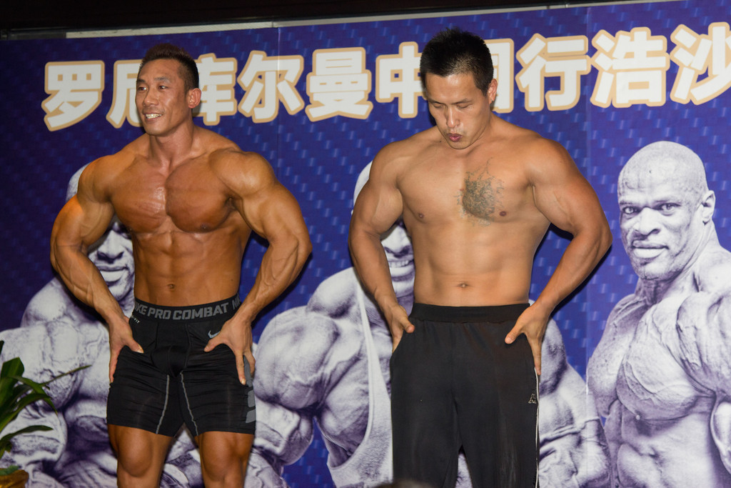 Chinese Body Builders Hosa Fitness Center Beijing July 19,2012 ©Lewis Sandler