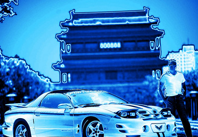 Pontiac Trans Am V8  in front of traditional style Chinese building Beijing. © Lewis Sandler Beijing Video Studio