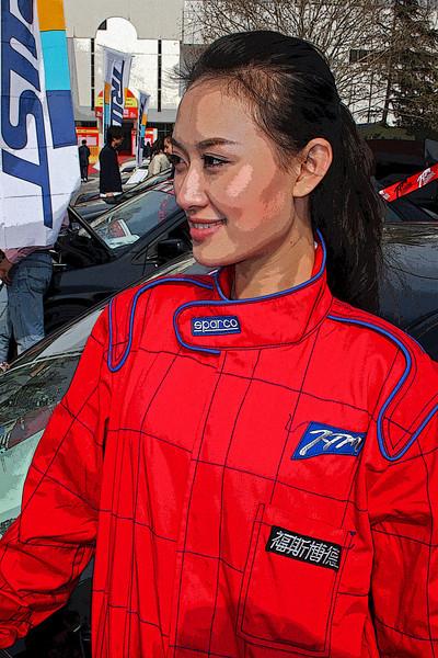 Model, Beijing Car show, 2008 © Lewis Sandler Beijing Video Studio