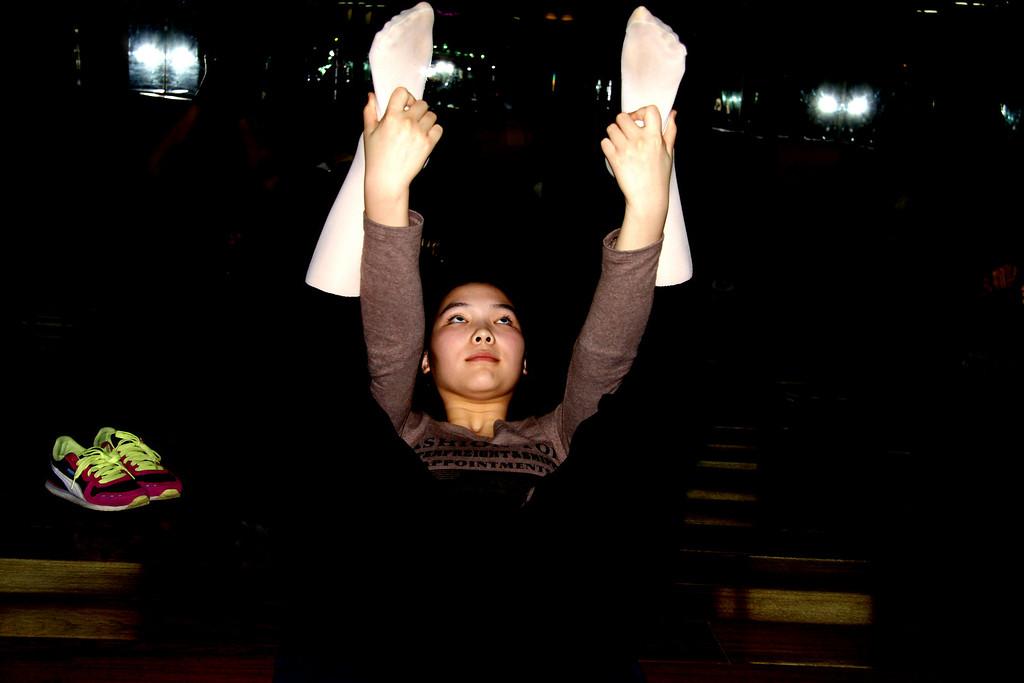Yoga student  Wei Bo Center Beijing 2010 © Lewis Sandler Beijing Video Studio