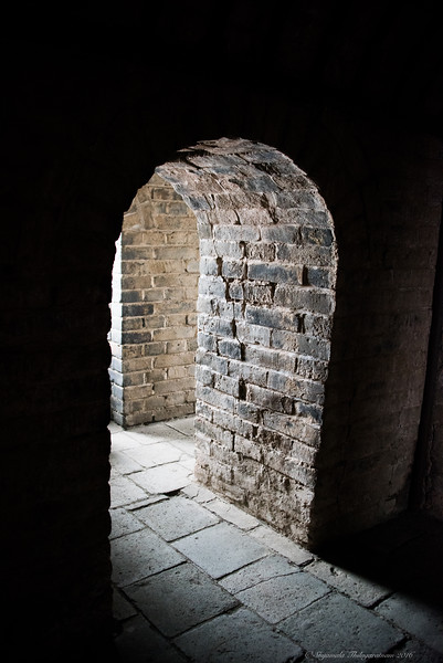 Inside a watchtower on the Great Wall
