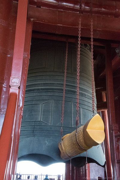 Steep staircases were climbed to look at a big bell...
