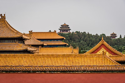 View of Jingshan pagoda from Forbidden City.